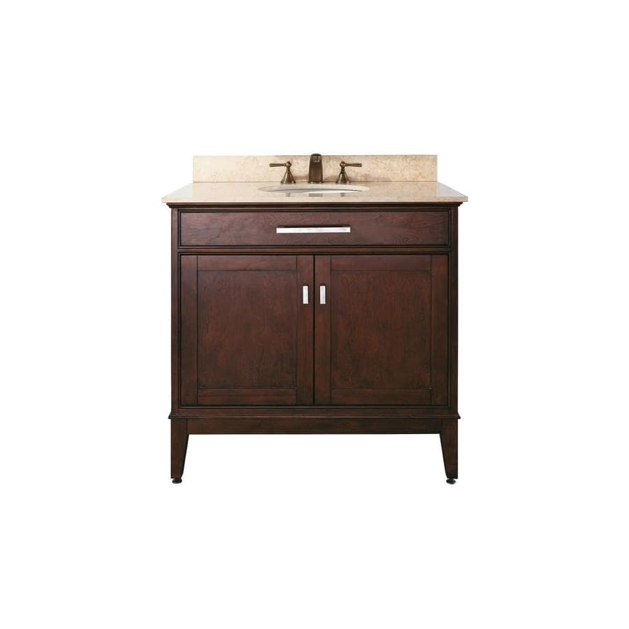 Avanity Madison Light Espresso Undermount Single Sink Poplar Bathroom Vanity with Natural Marble Top (Common: 37-in x 22-in; Actual: 37-in x 22-in)