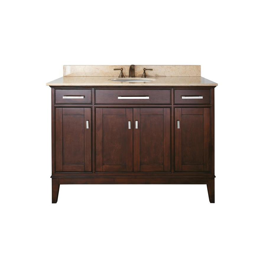 Avanity Madison Light Espresso Undermount Single Sink Poplar Bathroom Vanity with Natural Marble Top (Common: 49-in x 22-in; Actual: 49-in x 22-in)