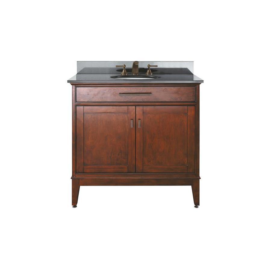 Avanity Madison Tobacco Undermount Single Sink Poplar Bathroom Vanity with Granite Top (Common: 37-in x 22-in; Actual: 37-in x 22-in)