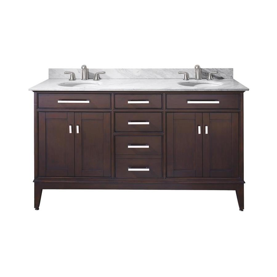 Avanity Madison Espresso Undermount Double Sink Poplar Bathroom Vanity with Natural Marble Top (Common: 61-in x 22-in; Actual: 61-in x 22-in)