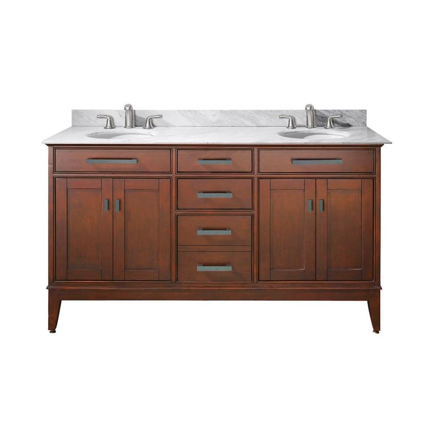 Shop Avanity Madison Tobacco Undermount Double Sink Poplar Bathroom Vanity With Natural Marble