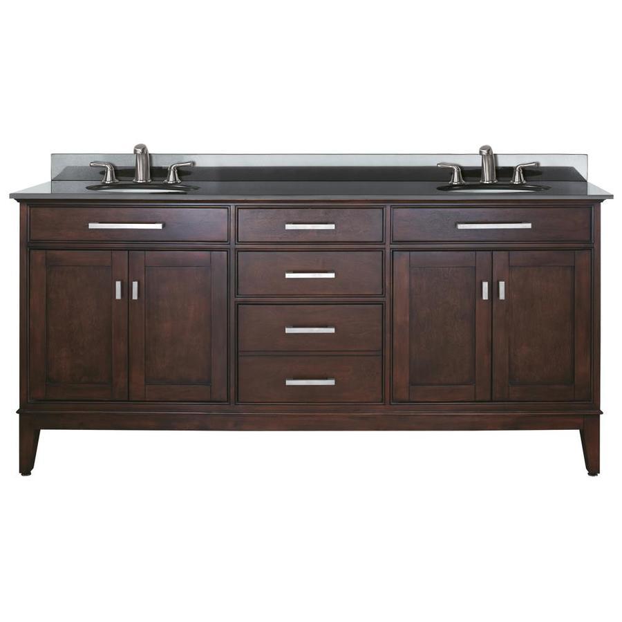Avanity Madison Espresso Undermount Double Sink Poplar Bathroom Vanity with Granite Top (Common: 73-in x 22-in; Actual: 73-in x 22-in)