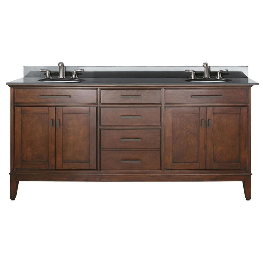 Shop avanity madison tobacco undermount double sink poplar bathroom vanity with granite top - Double bathroom vanities granite tops ...