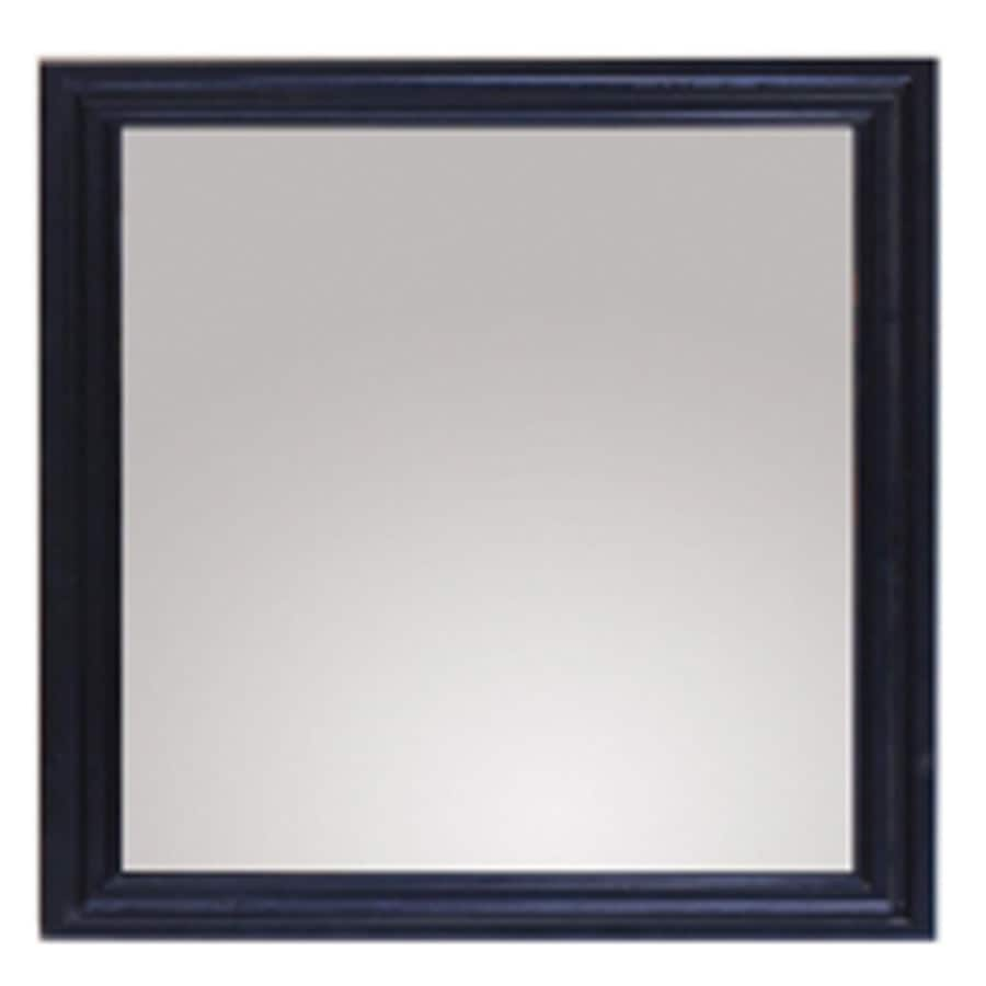 allen + roth Westerly 30-in H x 26-in W Black Rectangular Bathroom Mirror