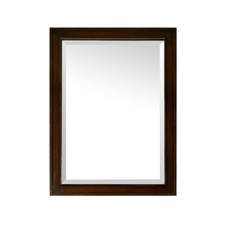 shop avanity madison 24 in w x 32 in h light espresso rectangular bathroom mirror at. Black Bedroom Furniture Sets. Home Design Ideas
