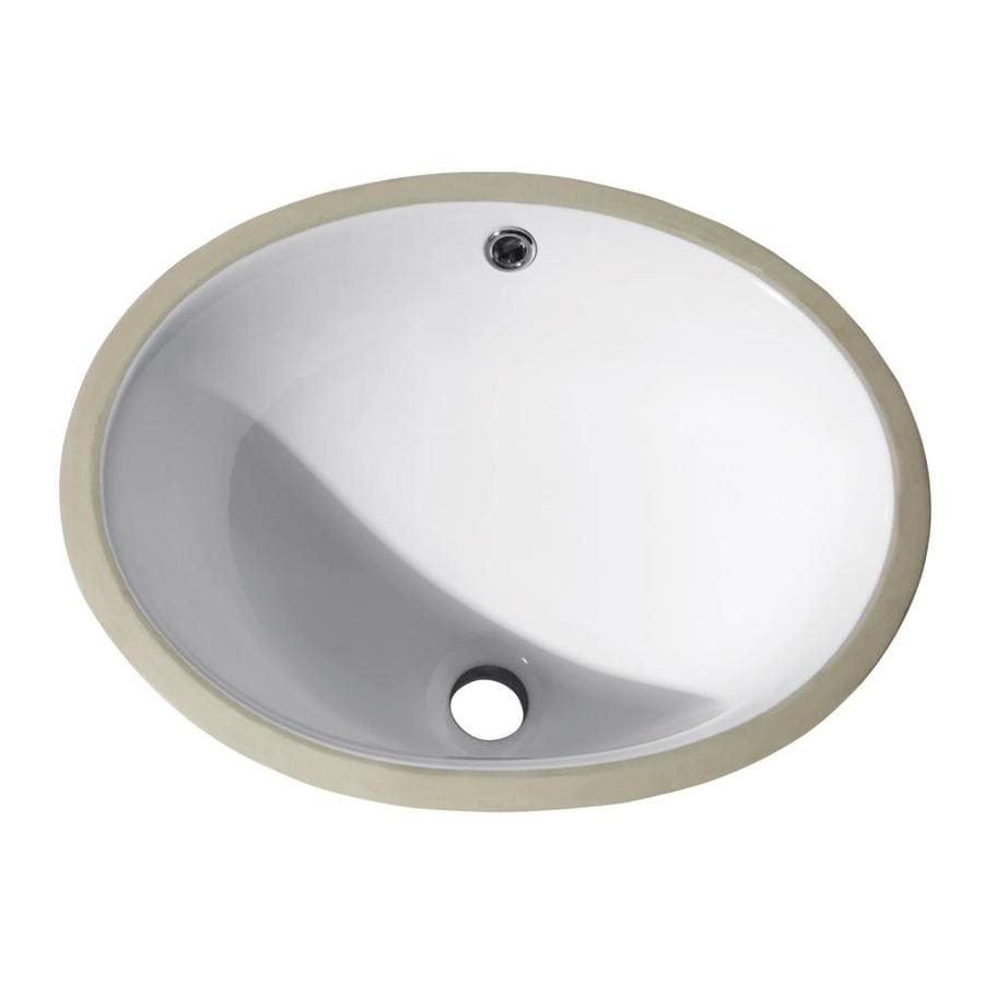 Avanity White Undermount Oval Bathroom Sink with Overflow