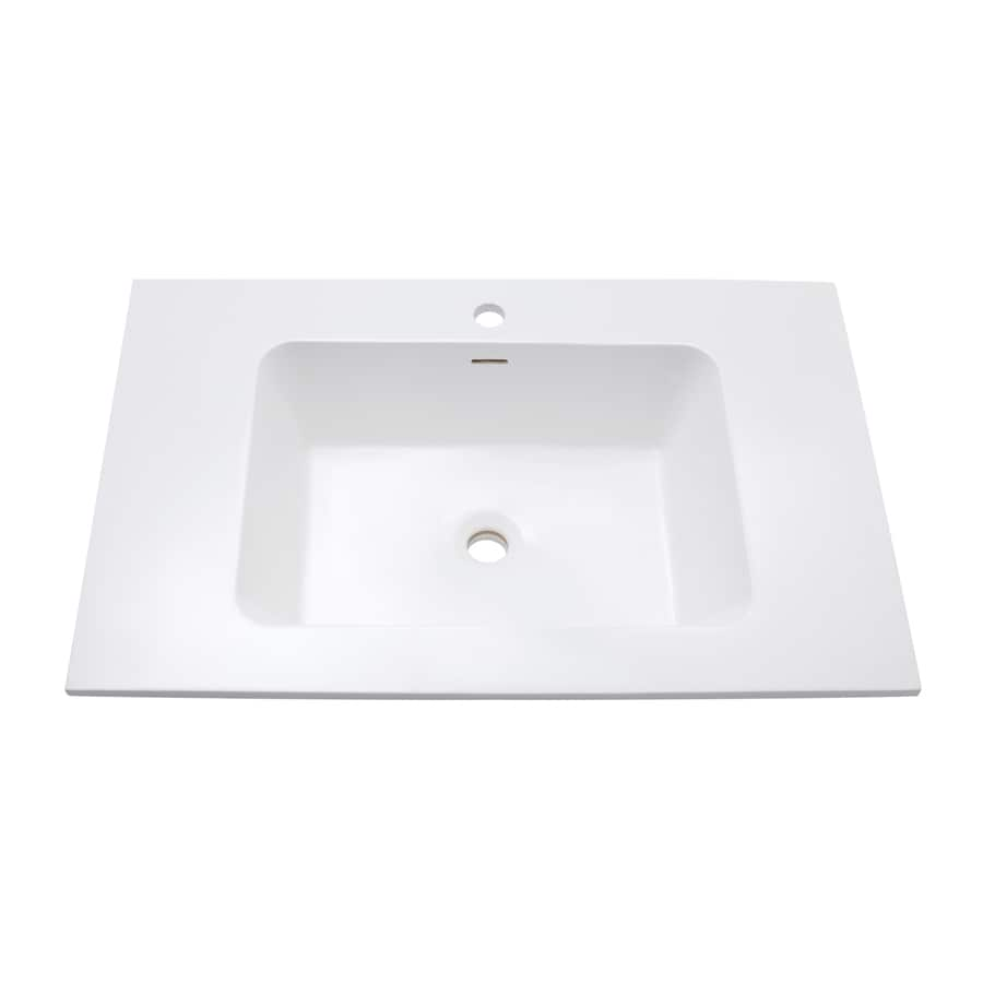 Avanity Versastone Glossy White Solid Surface Integral Bathroom Vanity Top (Common: 31-in x 20-in; Actual: 31.5-in x 20.5-in)