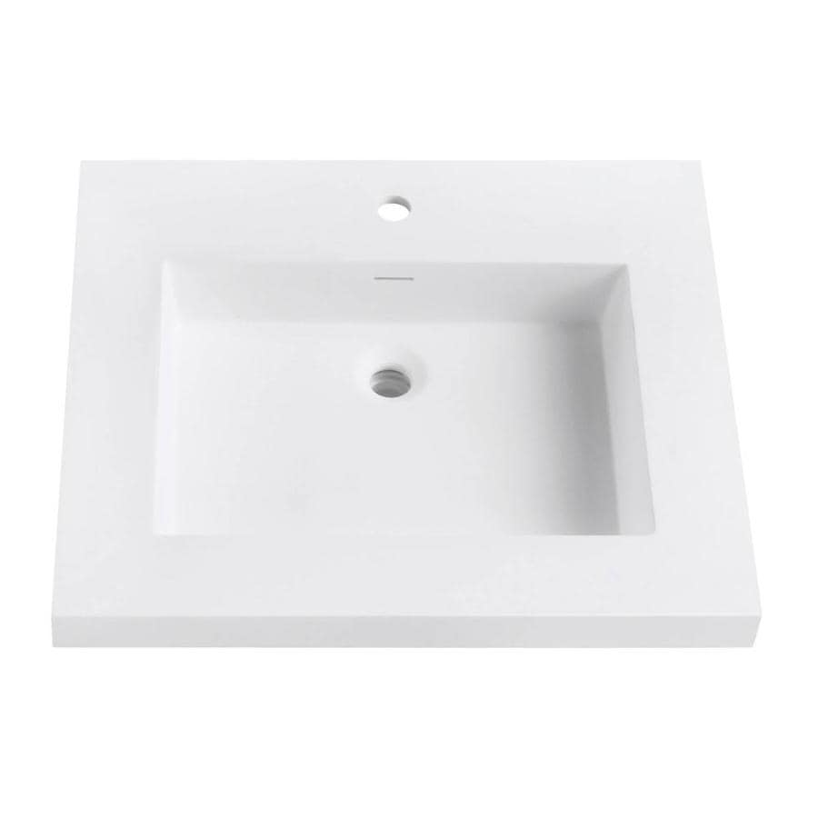 Avanity Matte White Solid Surface Integral Bathroom Vanity Top (Common: 25-in x 22-in; Actual: 25-in x 22-in)