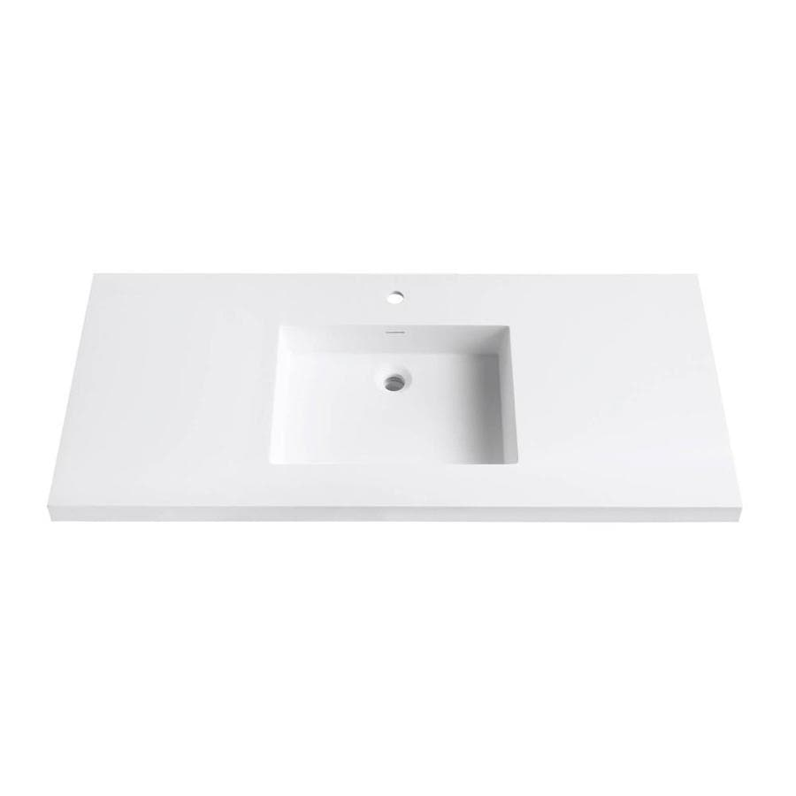 Avanity Matte White Solid Surface Integral Bathroom Vanity Top (Common: 49-in x 22-in; Actual: 49-in x 22-in)