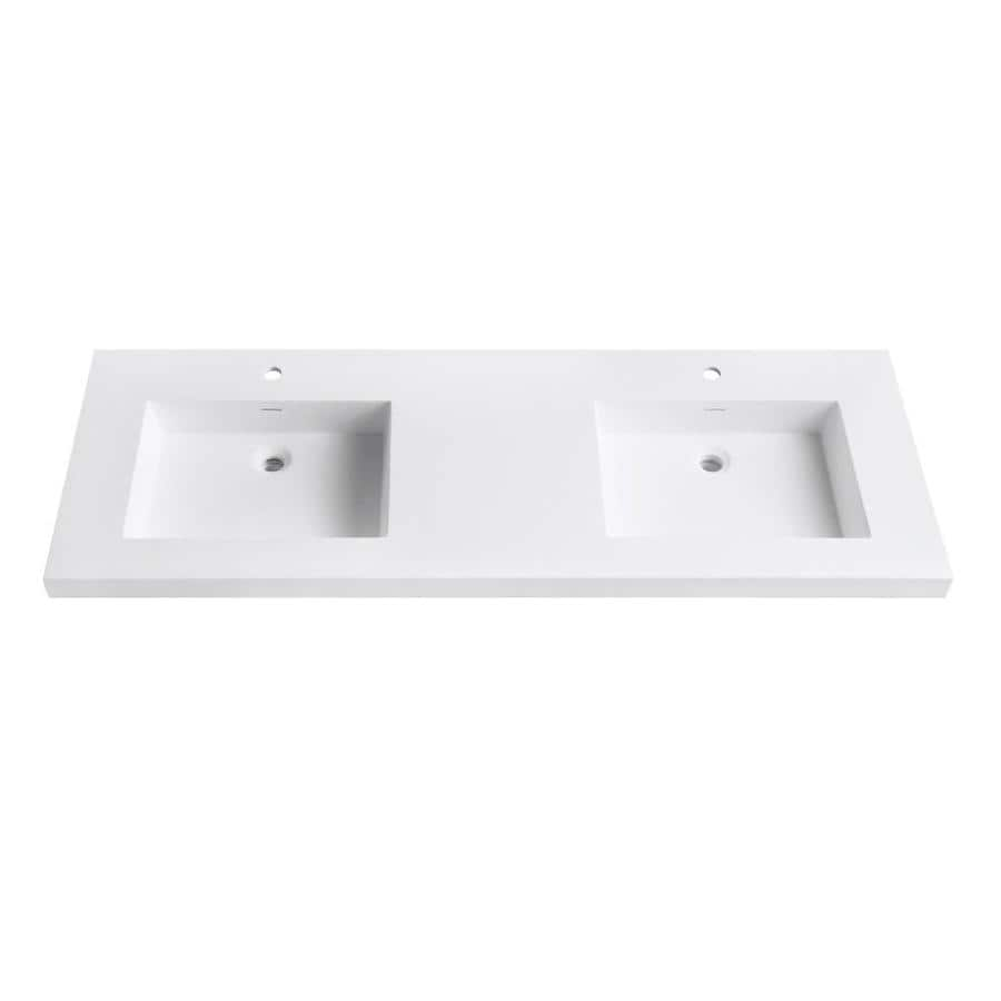 Avanity Matte White Solid Surface Integral Bathroom Vanity Top (Common: 61-in x 22-in; Actual: 61-in x 22-in)