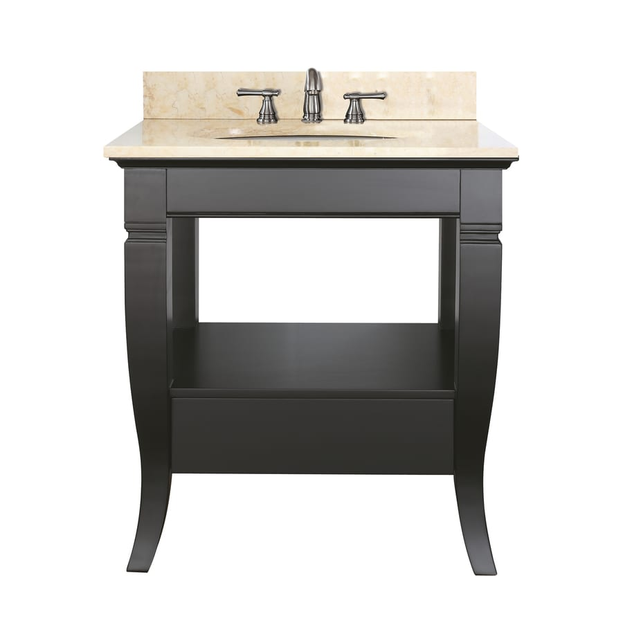 Avanity Milano Black Undermount Single Sink Poplar Bathroom Vanity with Natural Marble Top (Common: 31-in x 22-in; Actual: 31-in x 22-in)