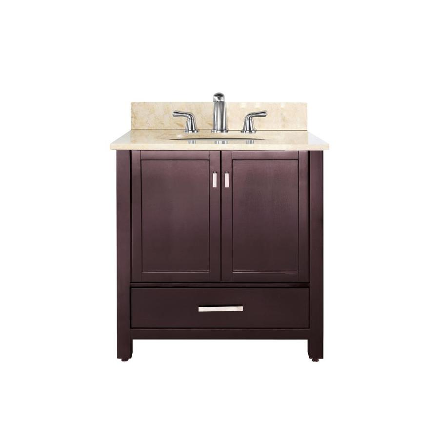 Avanity Modero Espresso Undermount Single Sink Poplar Bathroom Vanity with Natural Marble Top (Common: 37-in x 22-in; Actual: 37-in x 22-in)