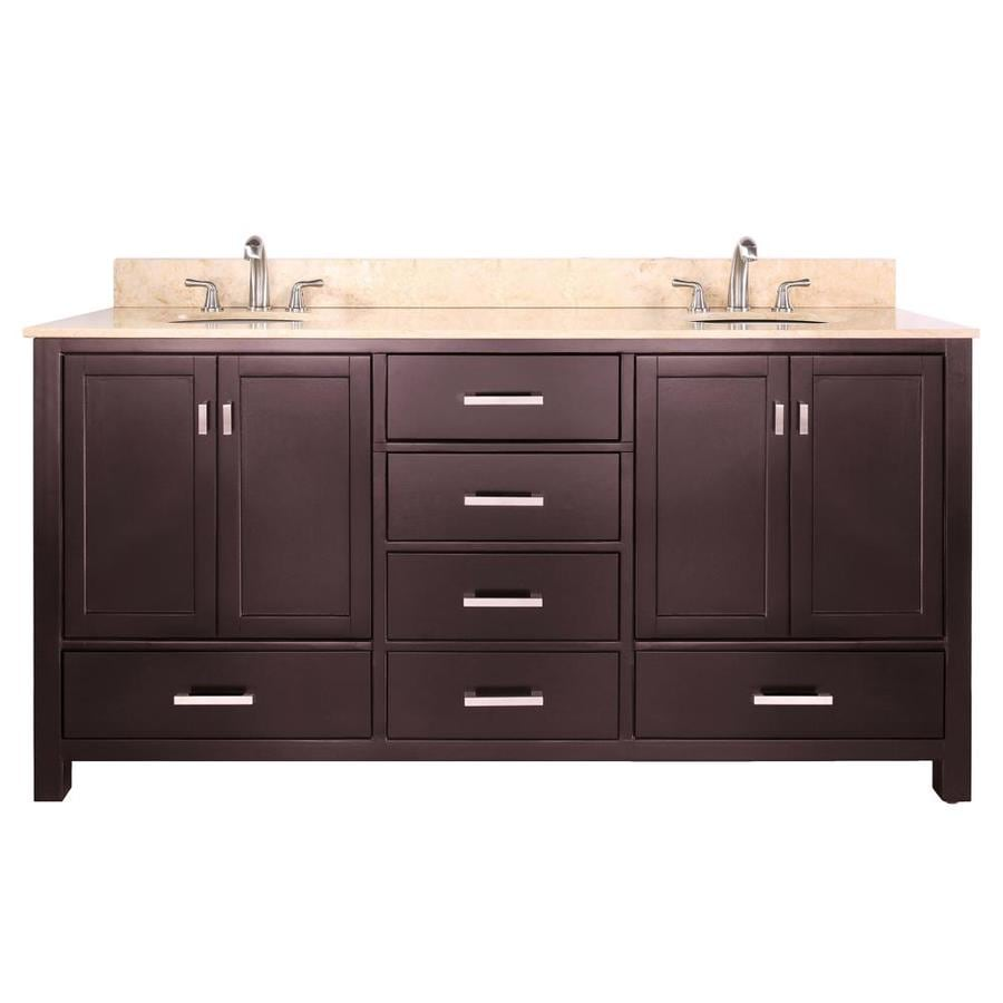 Avanity Modero Espresso Undermount Double Sink Poplar Bathroom Vanity with Natural Marble Top (Common: 73-in x 22-in; Actual: 73-in x 22-in)