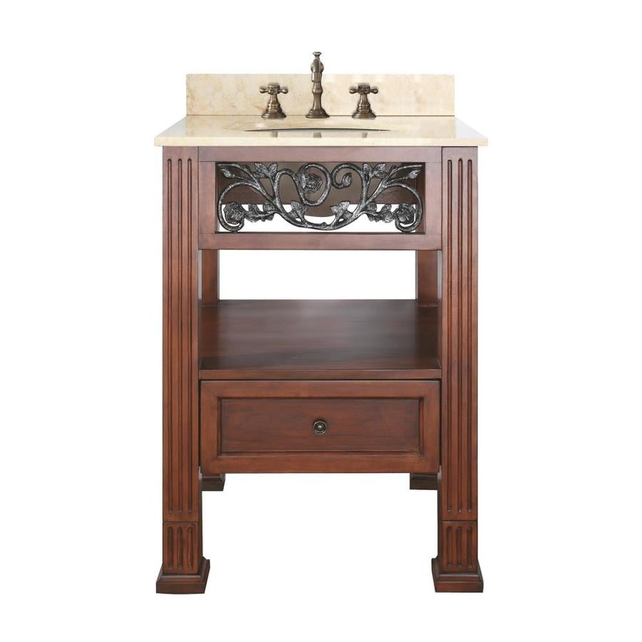 Avanity Napa Espresso Undermount Single Sink Poplar Bathroom Vanity with Natural Marble Top (Common: 25-in x 22-in; Actual: 25-in x 22-in)