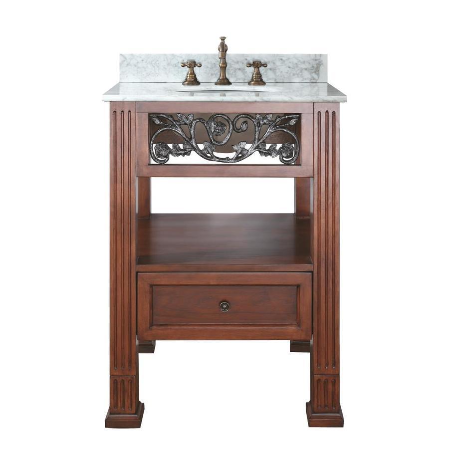Avanity Napa Espresso Undermount Single Sink Poplar Bathroom Vanity with Natural Marble Top (Common: 25-in x 22-in; Actual: 25-in x 22-in)