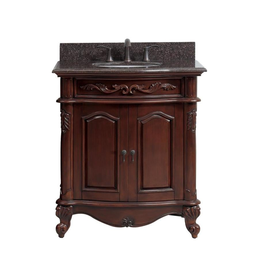 Shop avanity provence antique cherry undermount single - Lowes single sink bathroom vanity ...