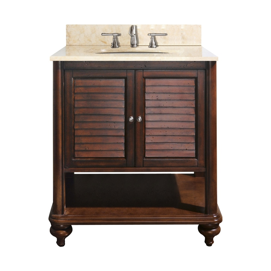 Avanity Tropica Antique Brown Undermount Single Sink Poplar Bathroom Vanity with Natural Marble Top (Common: 25-in x 22-in; Actual: 25-in x 22-in)