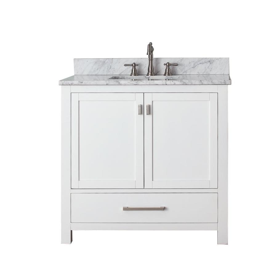 Avanity Modero White Undermount Single Sink Poplar Bathroom Vanity with Natural Marble Top (Common: 37-in x 22-in; Actual: 37-in x 22-in)