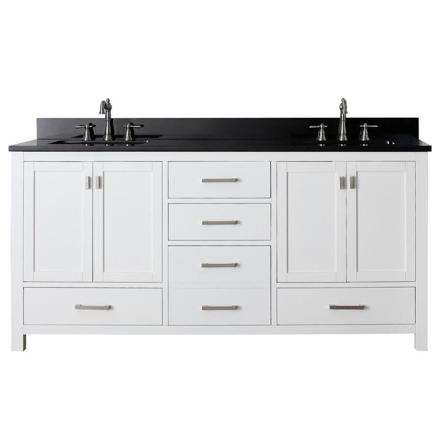Shop avanity modero white undermount double sink poplar bathroom vanity with granite top common - Double bathroom vanities granite tops ...