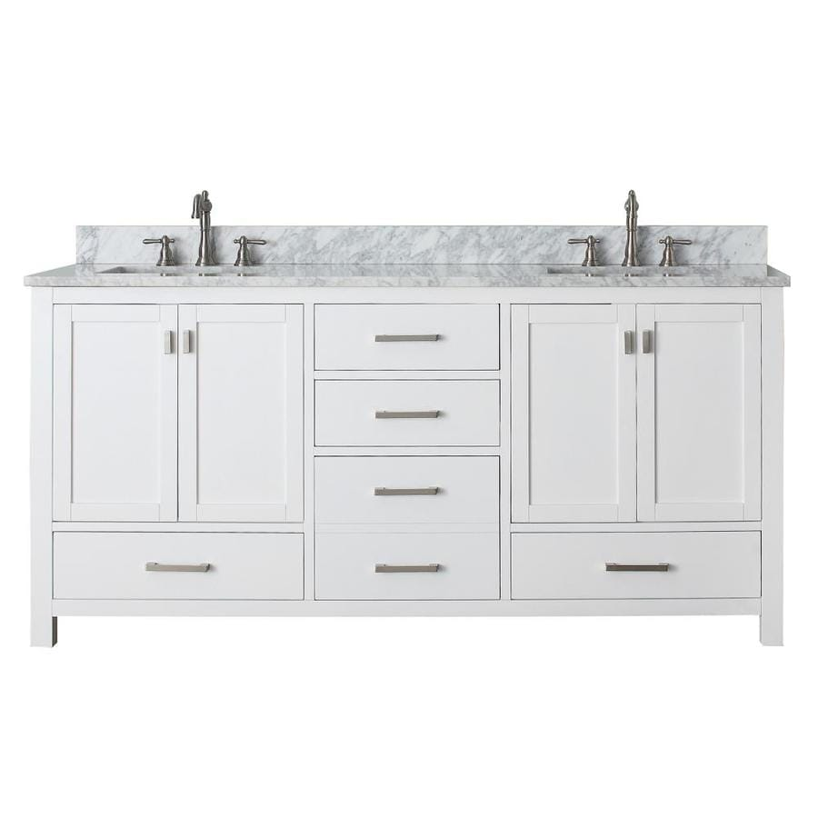 Shop Avanity Modero White Undermount Double Sink Poplar Bathroom Vanity With Natural Marble Top