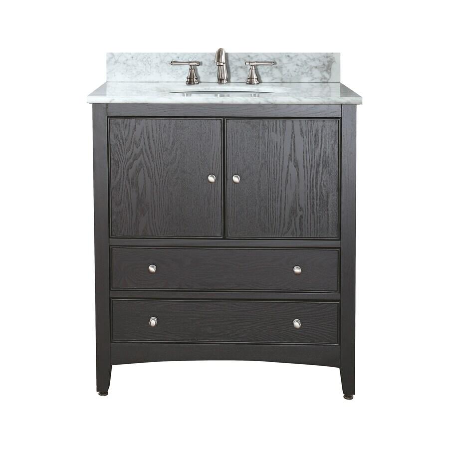 Avanity Westwood Ebony Undermount Single Sink Poplar Bathroom Vanity with Natural Marble Top (Common: 25-in x 22-in; Actual: 25-in x 22-in)