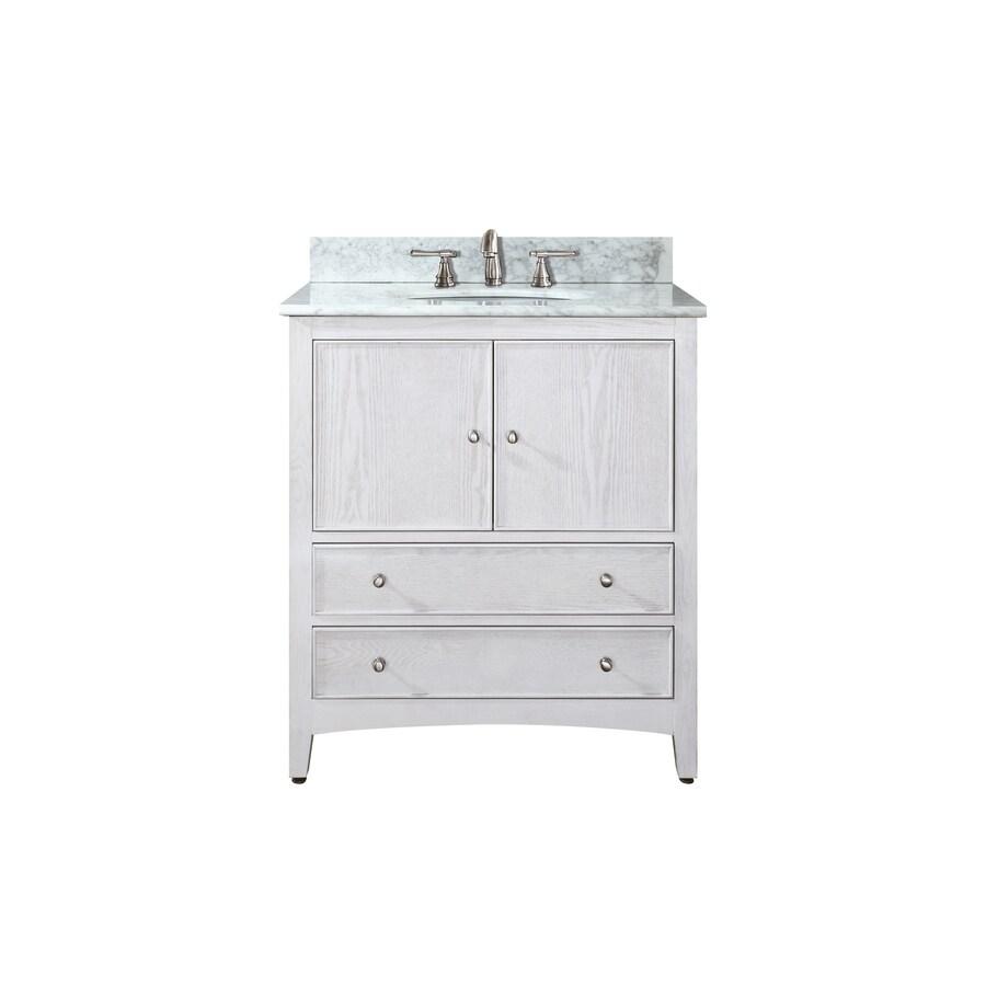Avanity Westwood White Undermount Single Sink Poplar Bathroom Vanity with Natural Marble Top (Common: 25-in x 22-in; Actual: 25-in x 22-in)