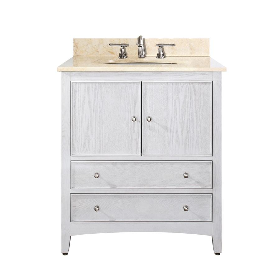 Avanity Westwood White Undermount Single Sink Poplar Bathroom Vanity with Natural Marble Top (Common: 31-in x 22-in; Actual: 31-in x 22-in)
