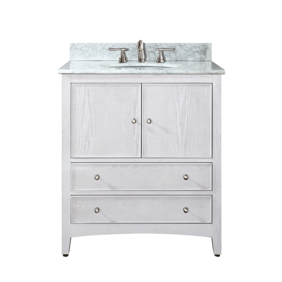 Avanity Westwood White Undermount Single Sink Poplar Bathroom Vanity with Natural Marble Top (Common: 31-in x 22-in; Actual: 31-in x 22-in)
