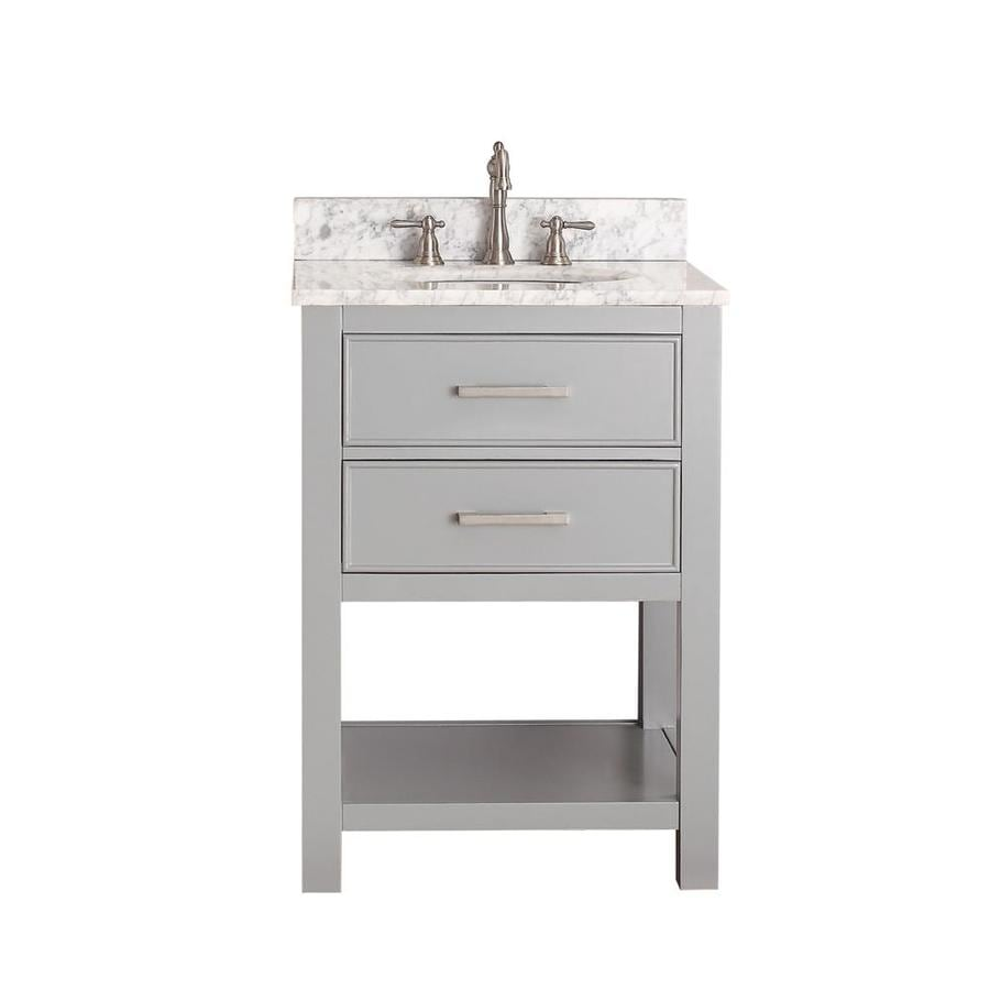 Avanity Brooks Chilled Gray Undermount Single Sink Poplar Bathroom Vanity with Natural Marble Top (Common: 25-in x 22-in; Actual: 25-in x 22-in)