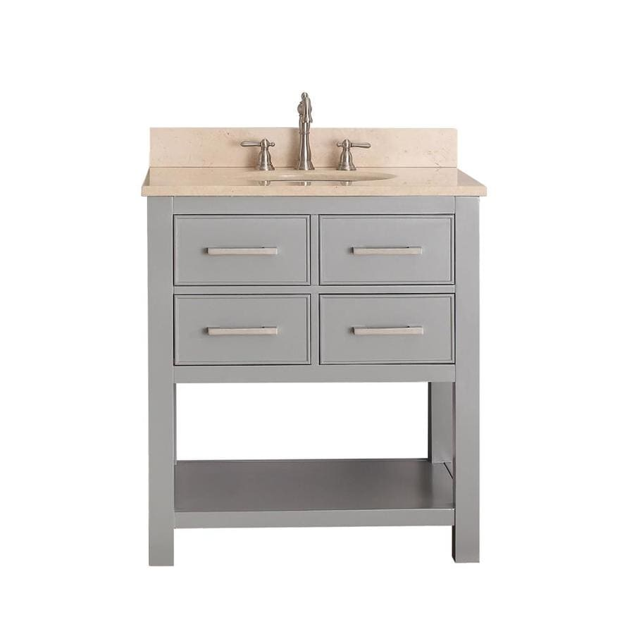 Avanity Brooks Chilled Gray Undermount Single Sink Poplar Bathroom Vanity with Natural Marble Top (Common: 31-in x 22-in; Actual: 31-in x 22-in)