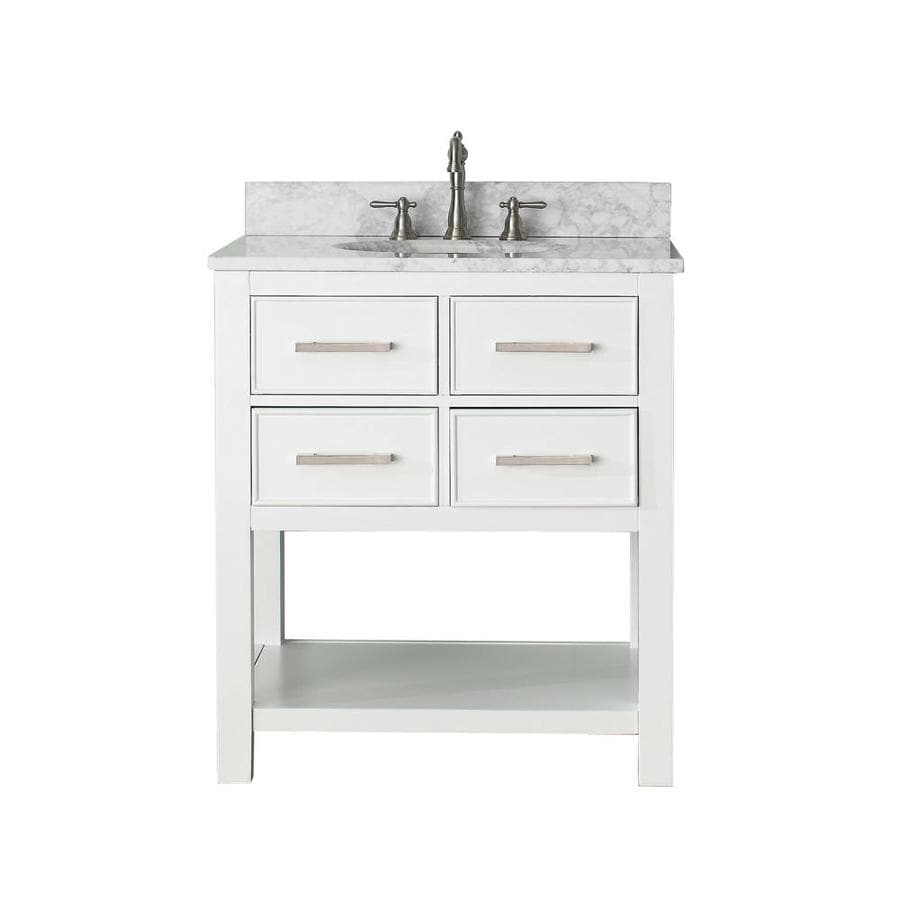 Avanity Brooks White Undermount Single Sink Poplar Bathroom Vanity with Natural Marble Top (Common: 31-in x 22-in; Actual: 31-in x 22-in)