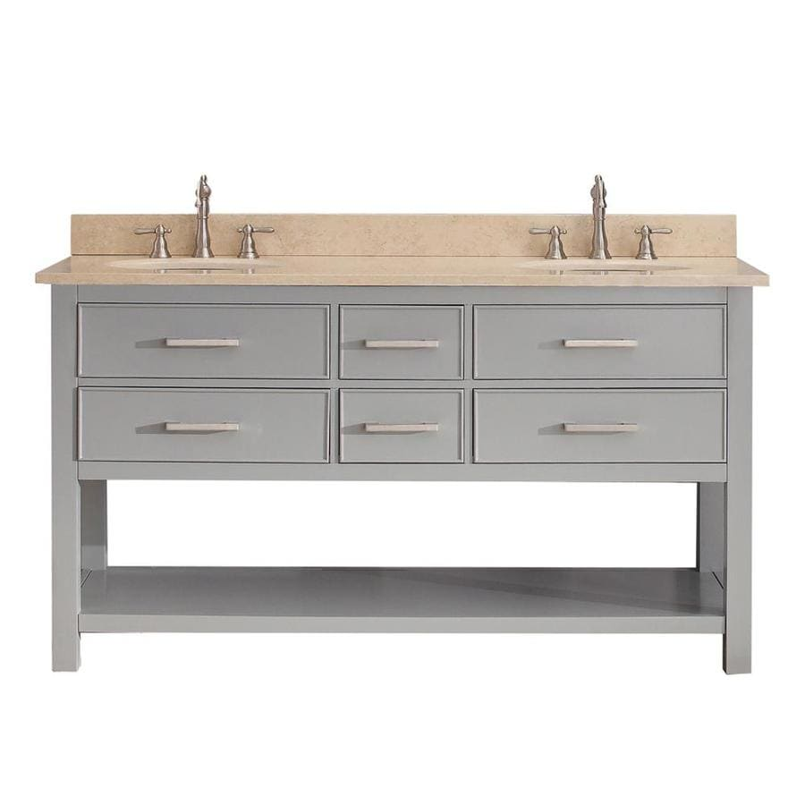 Avanity Brooks Chilled Gray Undermount Double Sink Poplar Bathroom Vanity with Natural Marble Top (Common: 61-in x 22-in; Actual: 61-in x 22-in)