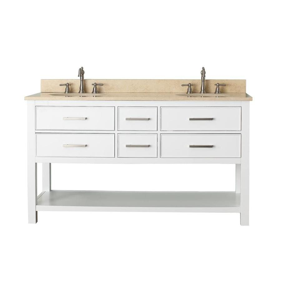 Avanity Brooks White Undermount Double Sink Poplar Bathroom Vanity with Natural Marble Top (Common: 61-in x 22-in; Actual: 61-in x 22-in)