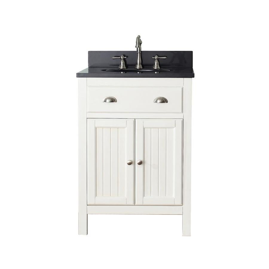 Avanity Hamilton French White Undermount Single Sink Poplar Bathroom Vanity with Granite Top (Common: 25-in x 22-in; Actual: 25-in x 22-in)