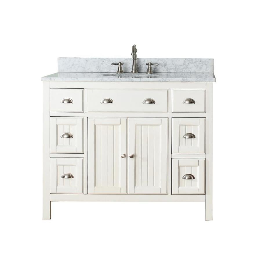 Avanity Hamilton French White Undermount Single Sink Poplar Bathroom Vanity with Natural Marble Top (Common: 43-in x 22-in; Actual: 43-in x 22-in)