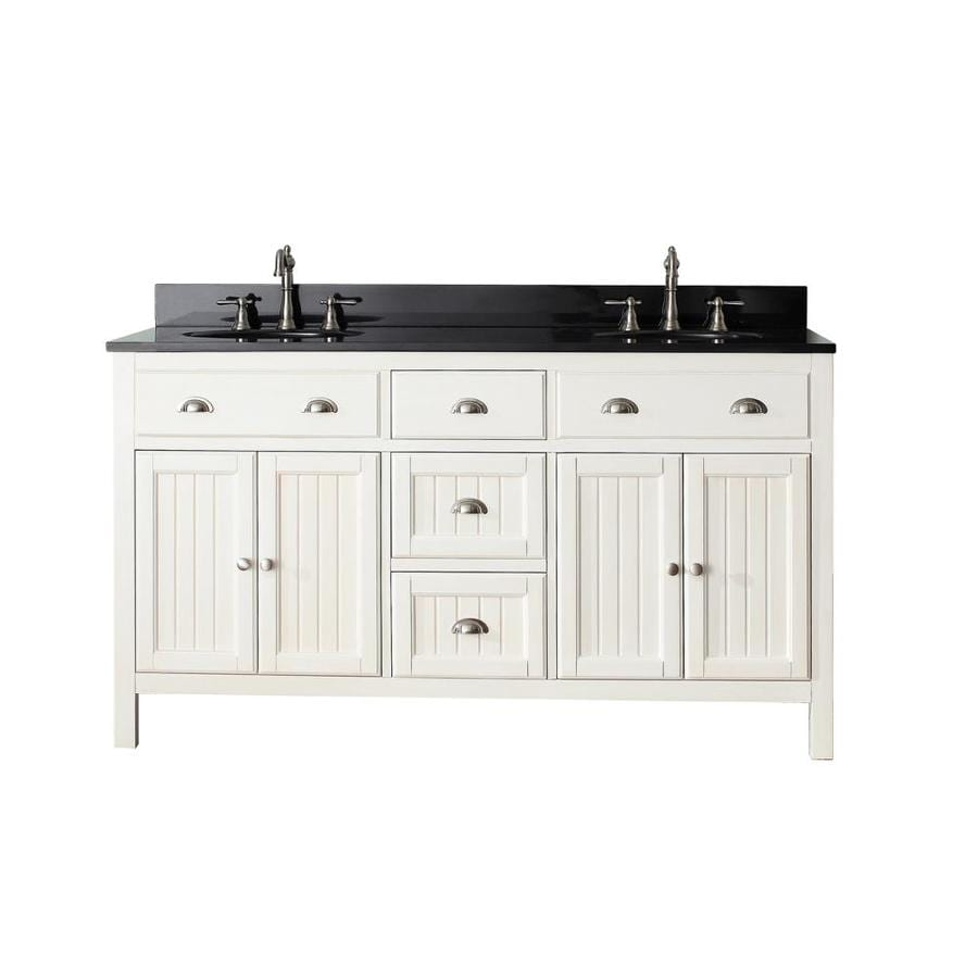 Shop Avanity Hamilton French White Undermount Double Sink Poplar Bathroom Van