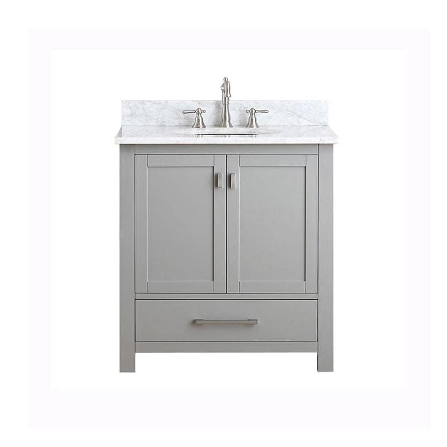 Avanity Modero Chilled Gray Undermount Single Sink Poplar Bathroom Vanity with Natural Marble Top (Common: 31-in x 22-in; Actual: 31-in x 22-in)