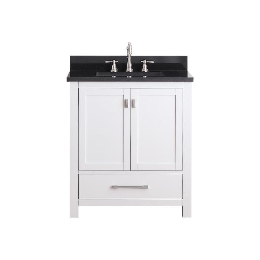 Avanity Modero White Undermount Single Sink Poplar Bathroom Vanity with Granite Top (Common: 31-in x 22-in; Actual: 31-in x 22-in)