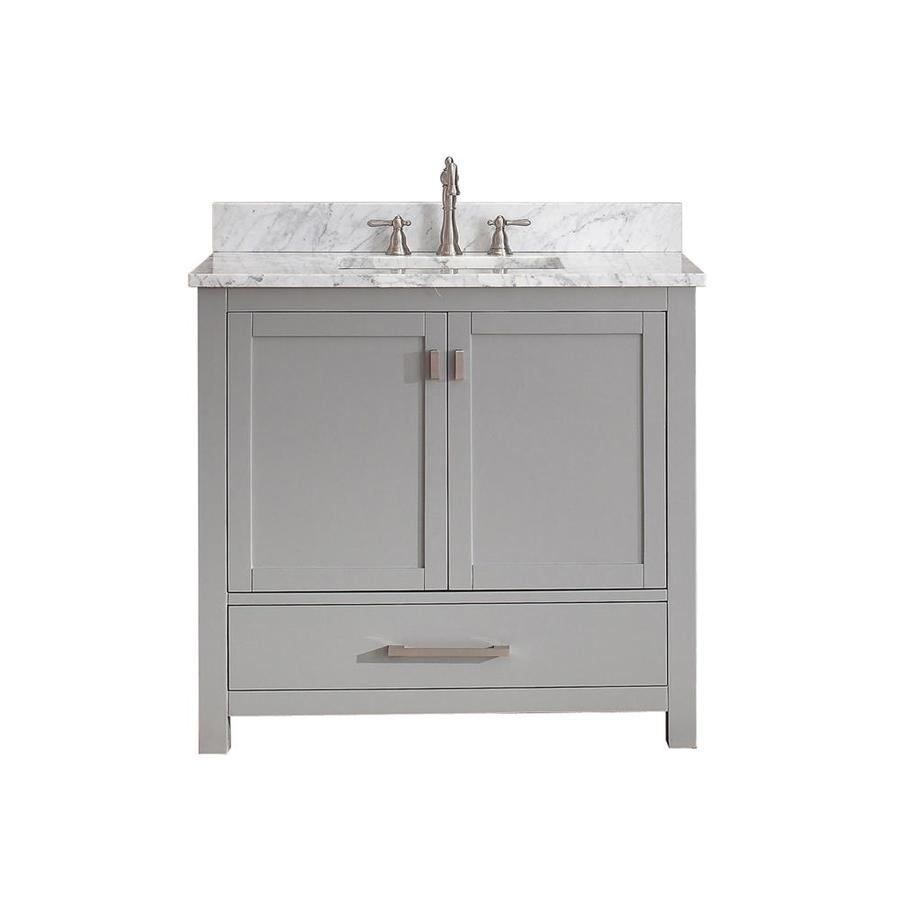Avanity Modero Chilled Gray Undermount Single Sink Poplar Bathroom Vanity with Natural Marble Top (Common: 37-in x 22-in; Actual: 37-in x 22-in)