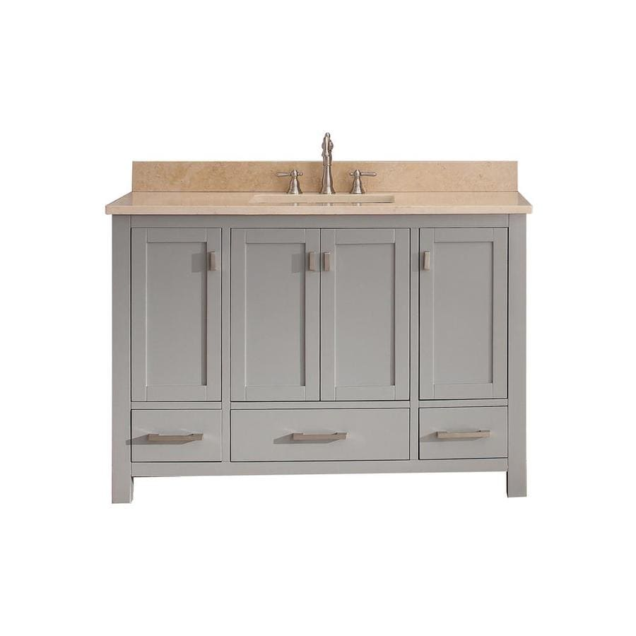 Avanity Modero Chilled Gray Undermount Single Sink Poplar Bathroom Vanity with Natural Marble Top (Common: 49-in x 22-in; Actual: 49-in x 22-in)