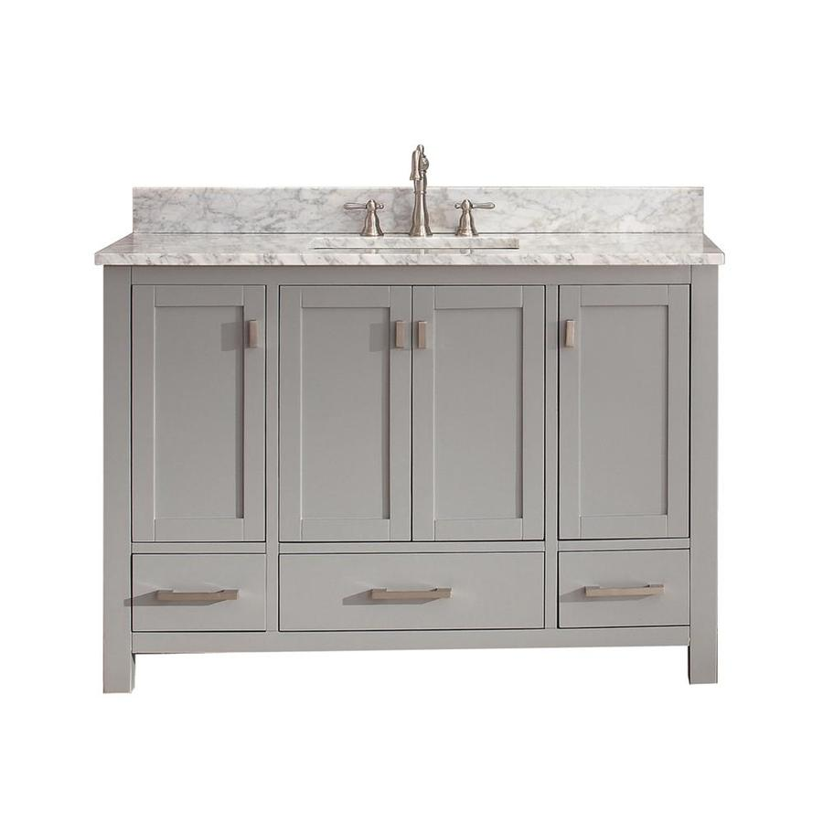 Shop Avanity Modero Chilled Gray Undermount Single Sink Poplar Bathroom Vanity With Natural