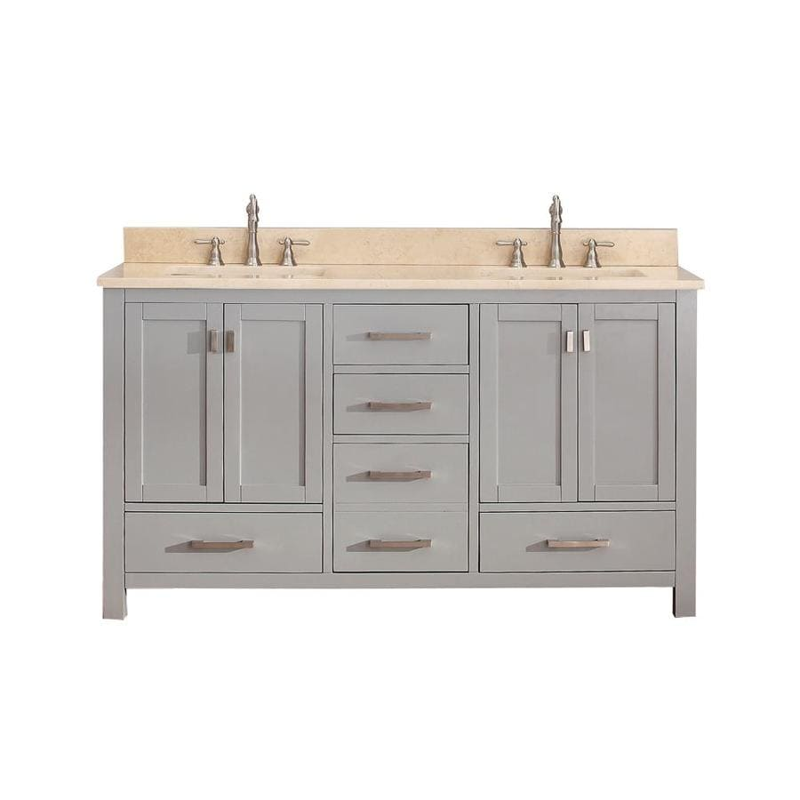 Avanity Modero Chilled Gray Undermount Double Sink Poplar Bathroom Vanity with Natural Marble Top (Common: 61-in x 22-in; Actual: 61-in x 22-in)