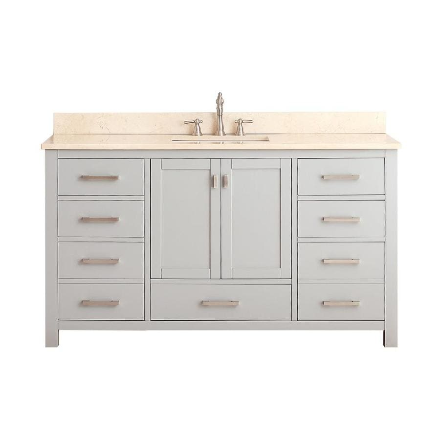 Avanity Modero Chilled Gray Undermount Single Sink Poplar Bathroom Vanity with Natural Marble Top (Common: 61-in x 22-in; Actual: 61-in x 22-in)