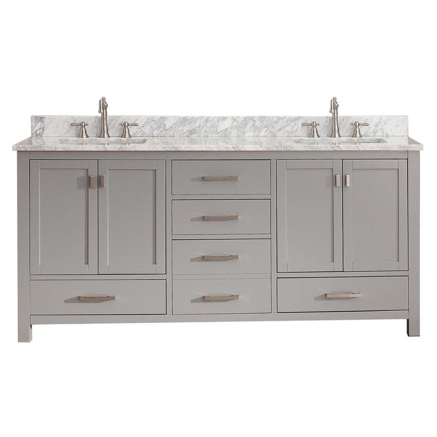 Avanity Modero Chilled Gray Undermount Double Sink Poplar Bathroom Vanity with Natural Marble Top (Common: 73-in x 22-in; Actual: 73-in x 22-in)