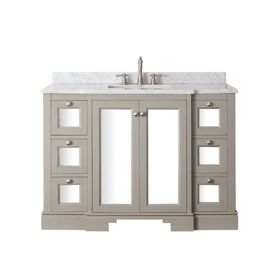 Avanity Newport French Gray Undermount Single Sink Poplar Bathroom Vanity with Natural Marble Top (Common: 49-in x 22-in; Actual: 49-in x 22-in)