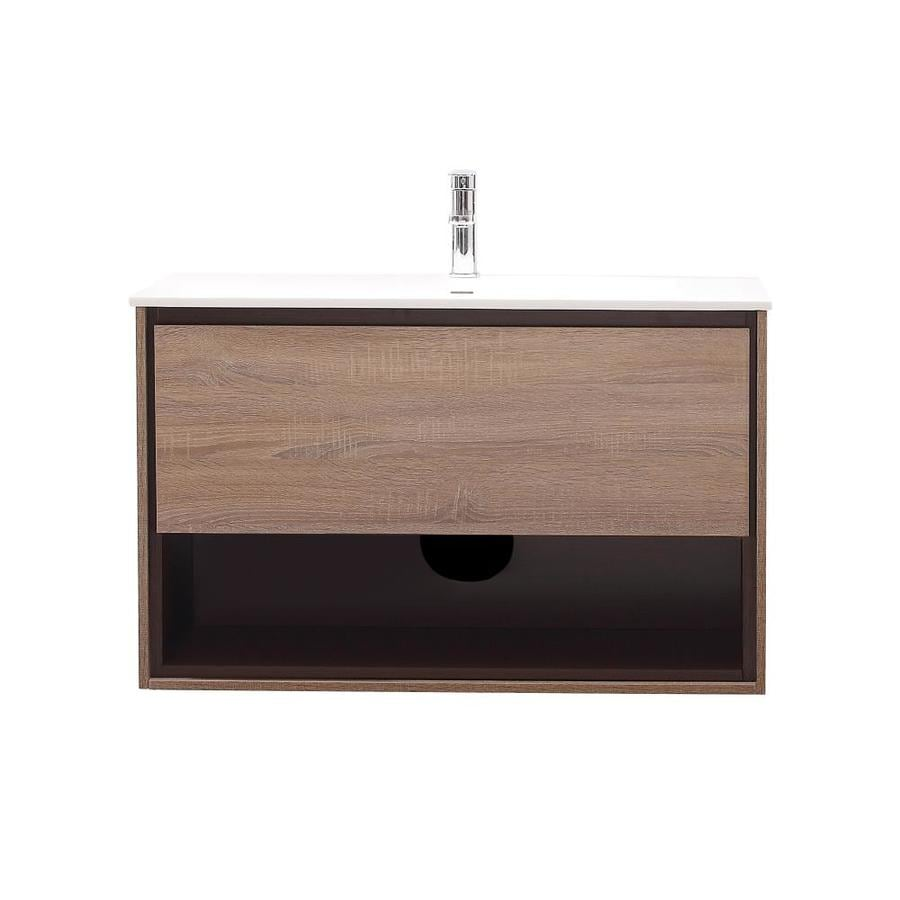 Avanity Sonoma Restored Khaki Integral Single Sink Asian Hardwood Bathroom Vanity with Solid Surface Top (Common: 40-in x 20.5-in; Actual: 39.4-in x 20.5-in)