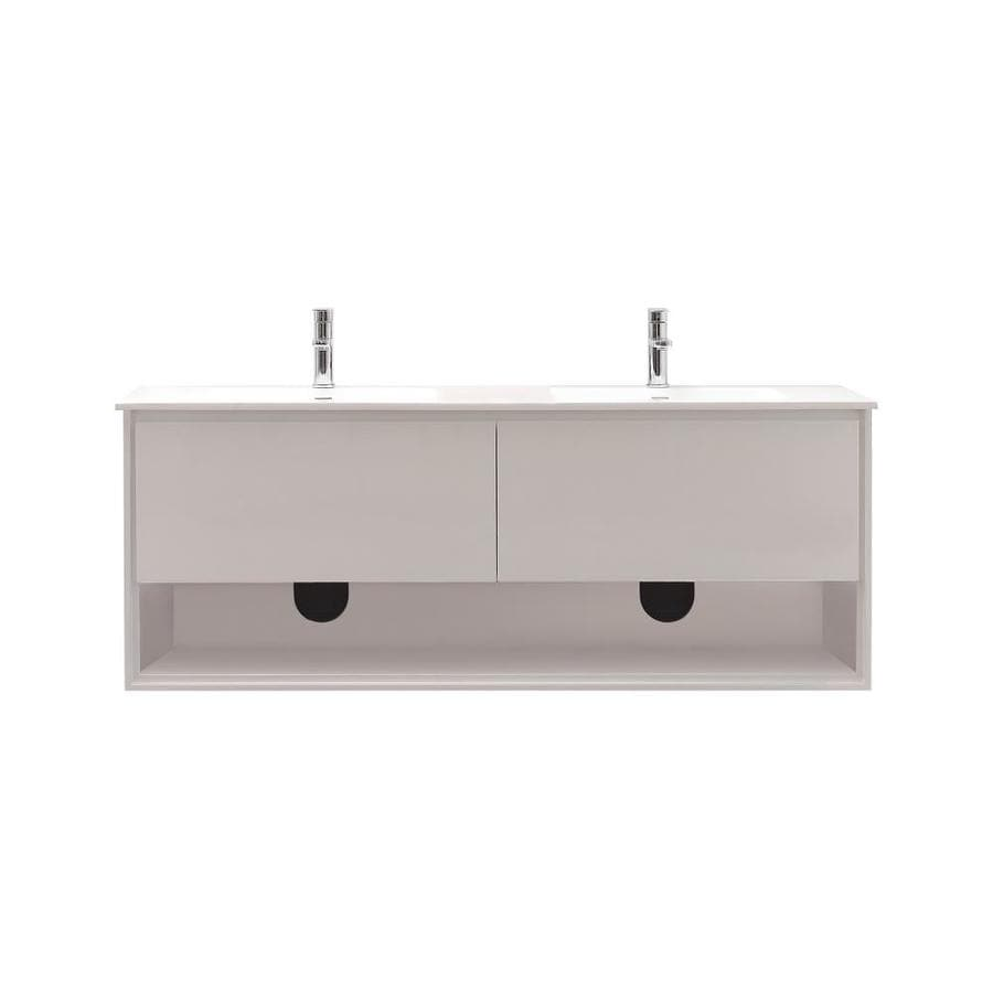 Avanity Sonoma White Integral Double Sink Asian Hardwood Bathroom Vanity with Solid Surface Top (Common: 63-in x 20.5-in; Actual: 63-in x 20.5-in)