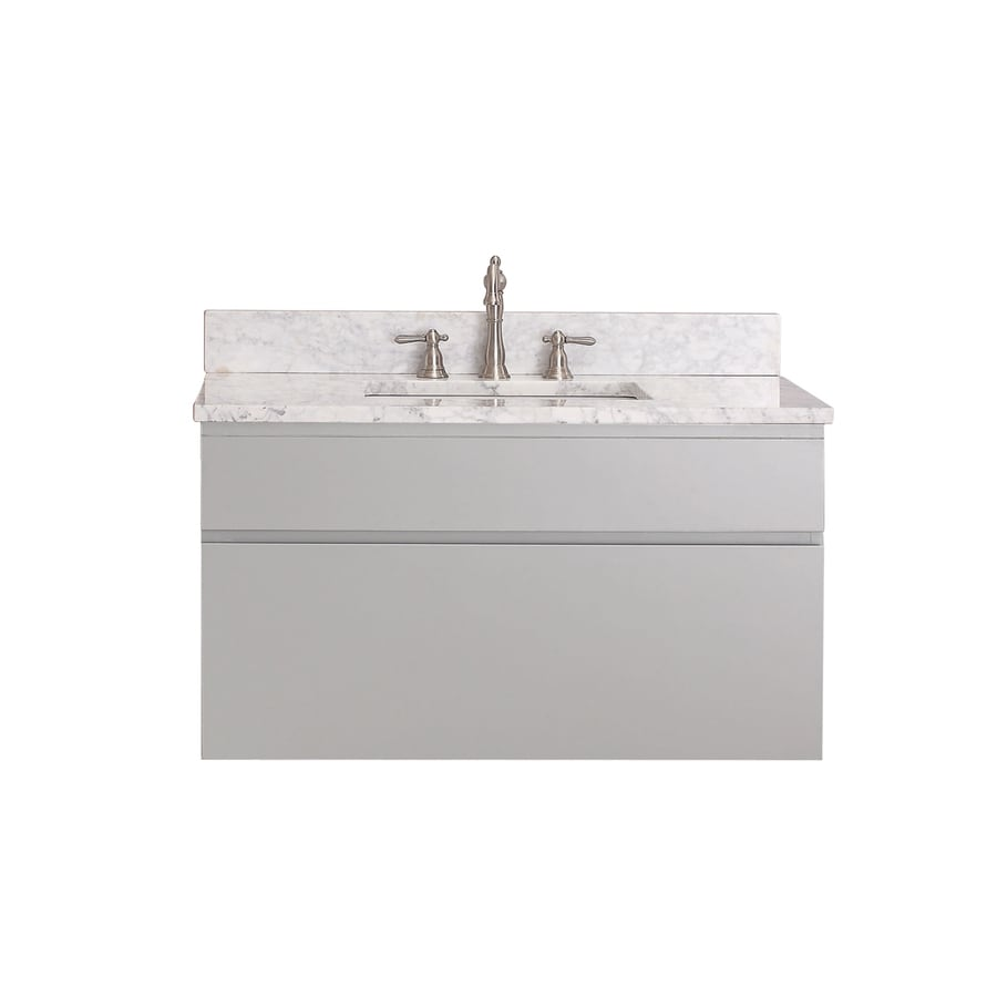 Avanity Tribeca Chilled Gray Undermount Single Sink Poplar Bathroom Vanity with Natural Marble Top (Common: 37-in x 22-in; Actual: 37-in x 22-in)