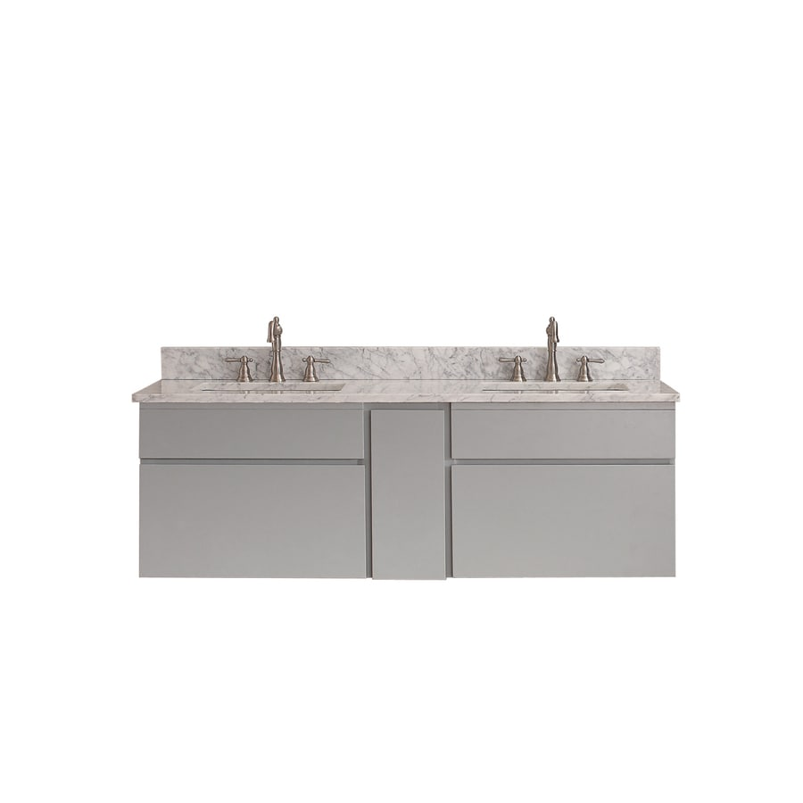 Avanity Tribeca Chilled Gray Undermount Double Sink Poplar Bathroom Vanity with Natural Marble Top (Common: 61-in x 22-in; Actual: 61-in x 22-in)
