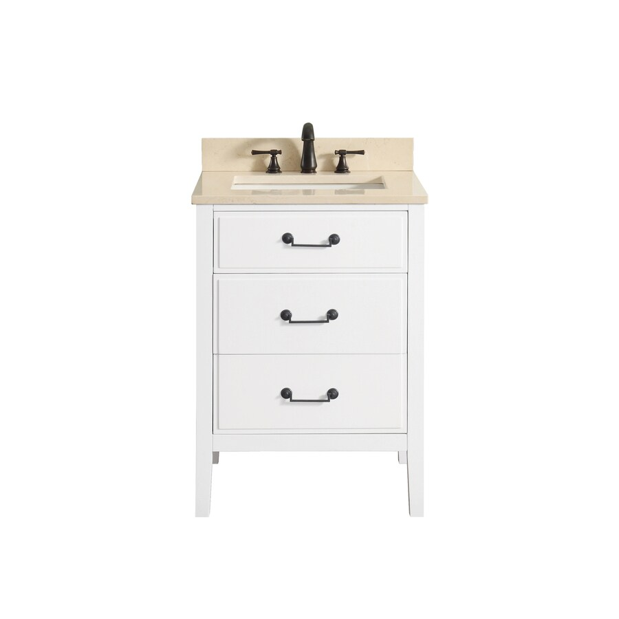 Avanity White Undermount Single Sink Poplar Bathroom Vanity with Natural Marble Top (Common: 25-in x 22-in; Actual: 25-in x 22-in)